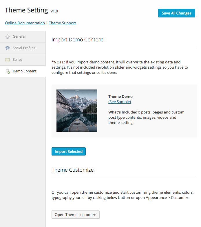 Theme Setting > Demo Content for content importing feature